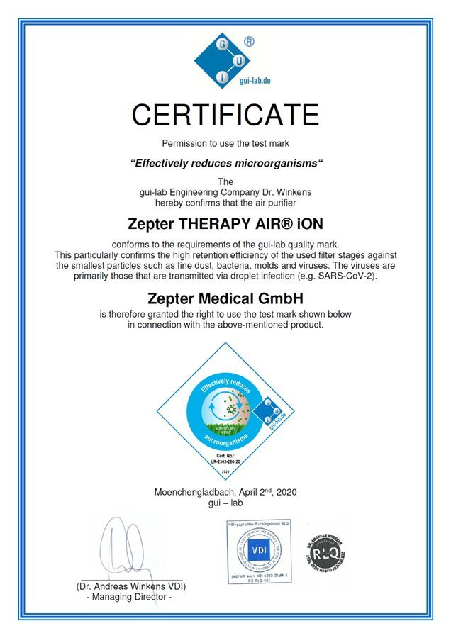 gui-lab.de certificate for Therapy Air iOn